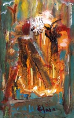 Élaine, Acrylique et collage sur carton, 2013
