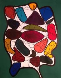 Christine - Travail aléatoire au carbone, acrylique et crayon feutre sur papier canson, 2018